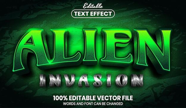 Alien invasion text, font style editable text effect