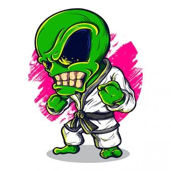 Alien karate illustration