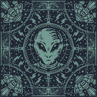 The alien laboratory vintage pattern bandana
