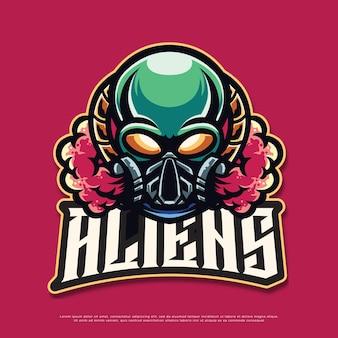 Дизайн талисмана логотипа инопланетянина