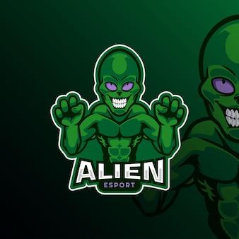 Alien logo mascot for esport gamer