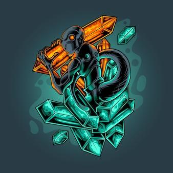 Alien magic stone vector illustration