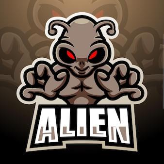 Чужой талисман киберспорт дизайн логотипа