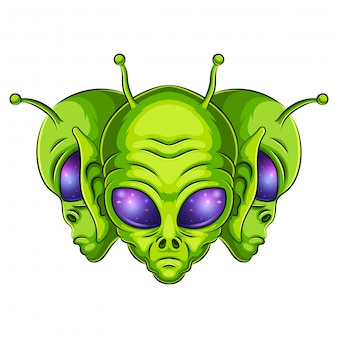 Alien mascot logo illustration