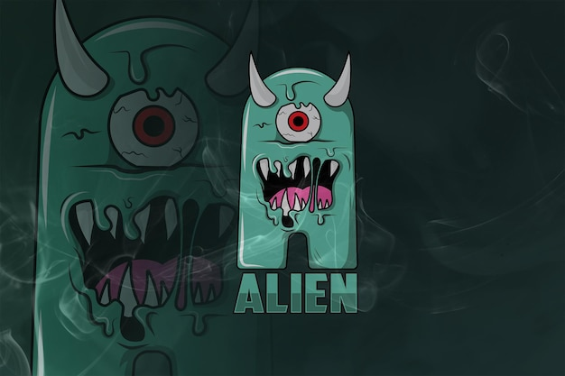 Alien monogram esport 로고 프리미엄