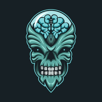 Alien monster brain head vector illustration