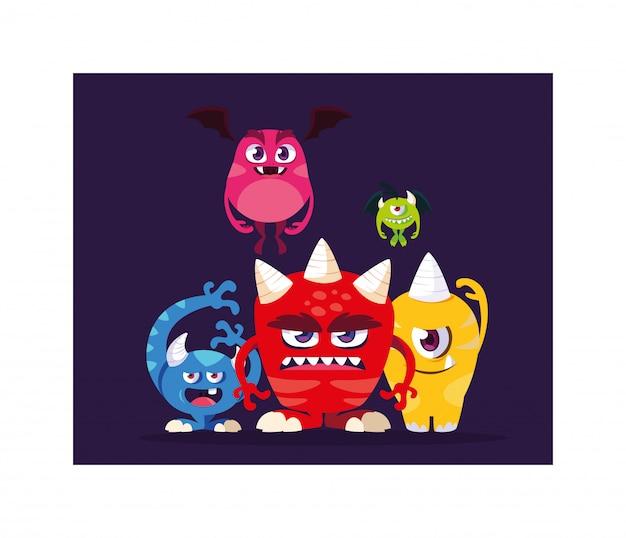 Alien monsters for halloween, angry monsters