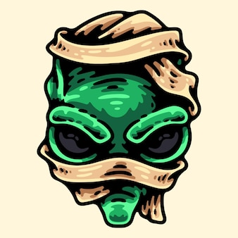베이지 색에 고립 된 외계인 엄마 머리 문자