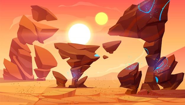 Deserto alieno del pianeta in cosmo, paesaggio marziano