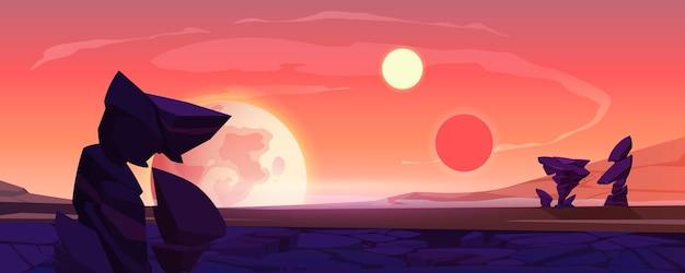 Пейзаж чужой планеты, сумерки или поверхность пустыни рассвета с горами, скалами, спутником и двумя солнцами, сияющими на оранжевом небе. космический внеземной компьютерный игровой фон, векторные иллюстрации шаржа