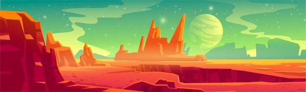 Пейзаж чужой планеты для фона космической игры. мультфильм фэнтези иллюстрация космоса и поверхности марса с красной пустыней и скалами, спутником и звездами в небе