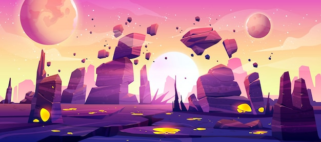 宇宙ゲームの背景のエイリアンの惑星の風景