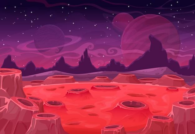 Пейзаж чужой планеты с кратерами