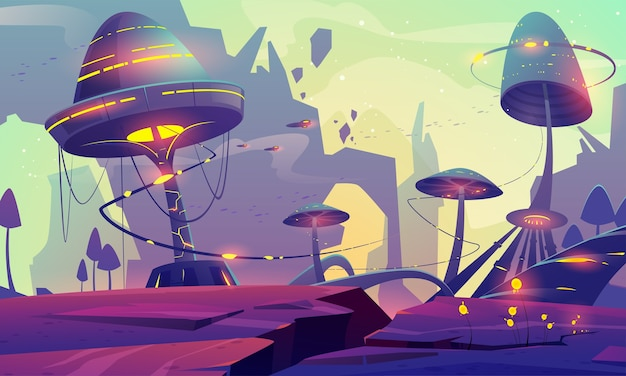 Alien planet landscape with fantasy mushrooms trees or buildings and rocks.