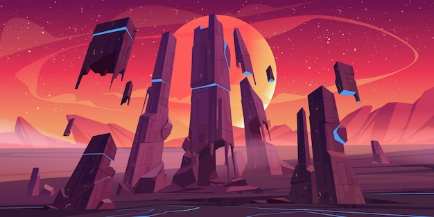 岩と輝く青い亀裂のある未来的な建物の遺跡があるエイリアンの惑星の風景。