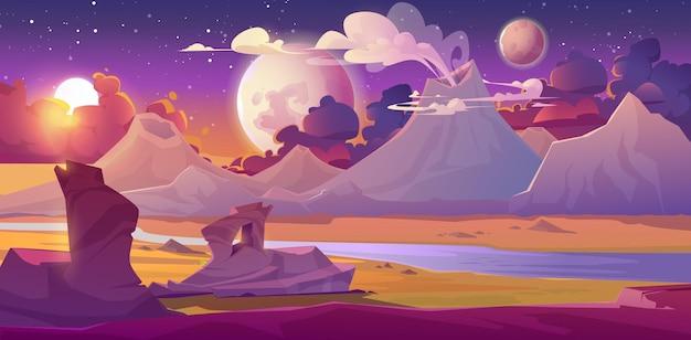 Пейзаж чужой планеты с вулканом, рекой, звездами и лунами в небе. векторная иллюстрация фэнтези поверхности планеты с пустыней, горами, дымовыми облаками из кратеров. футуристический фон для графического интерфейса игры