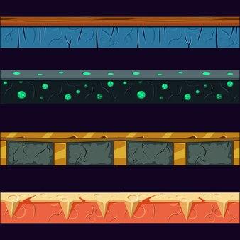 Alien planet platformer level floor design set