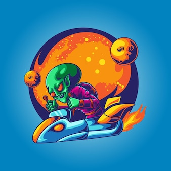 Alien ready to war with spaceship illustration