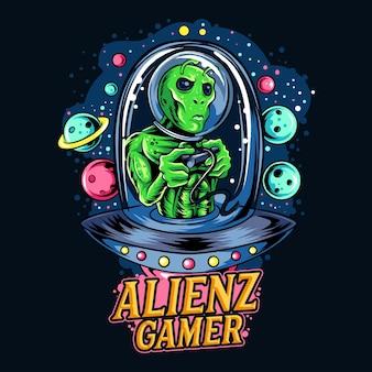 Alien riding ufo as gamer esport logo