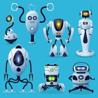 외계인 로봇, 미래의 드로이드 및 로봇 생명체가 캐릭터를 형성합니다. 인간형 손과 다리, 발톱과 촉수가있는 android, ai가 바퀴로 움직이는 집 도우미, 외계인 판타지 사이보그 또는 드론