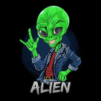 Alien rocker wearing spiked jacket
