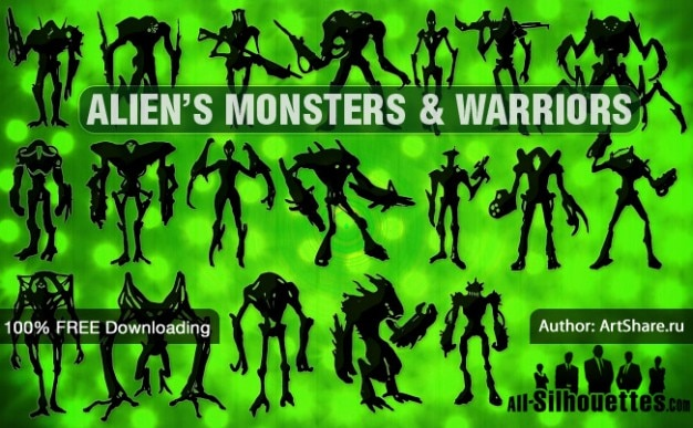 Alien's monsters & warriors | all silhouettes