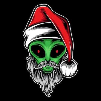 Alien santa  and logo