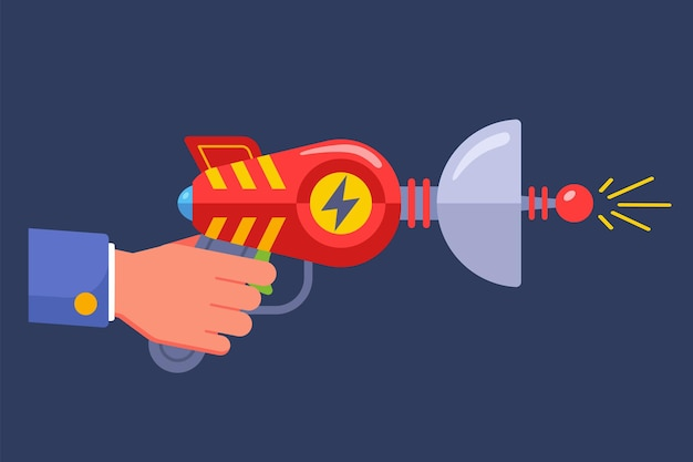 Alien science fiction pistol. flat vector illustration.
