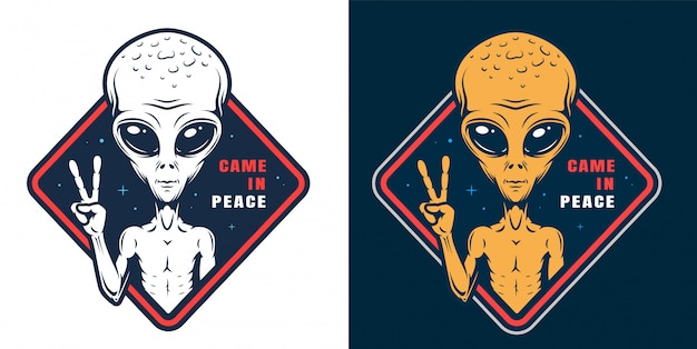 Alien showing peace sign labels set