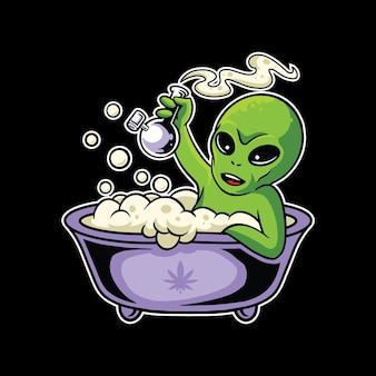 Alien smoking bong mascot