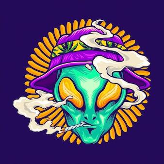 Летние каникулы инопланетянина. векторные иллюстрации для вашей работы. логотип, футболка с товарами-талисманами, наклейки и дизайн этикеток, плакат, поздравительные открытки, рекламные компании или бренды.