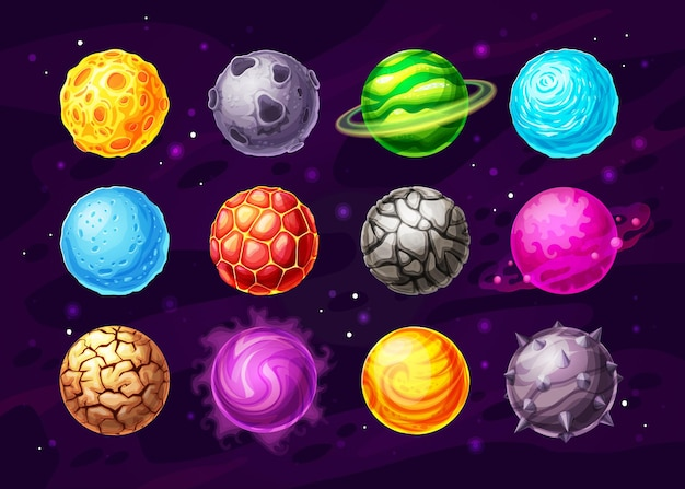 Alien space planets cartoon design of space game ui