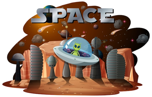 Alieno nella scena spaziale