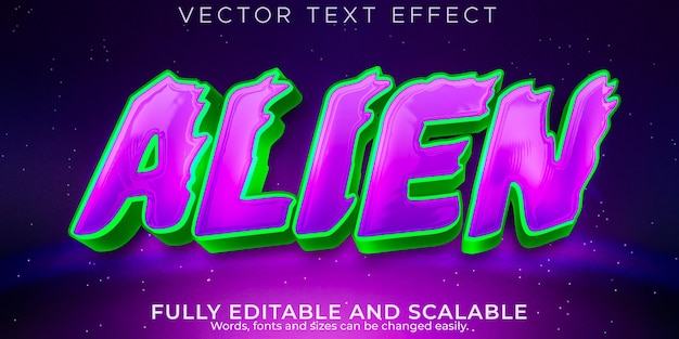 Alien space text effect editable ufo and galaxy text style