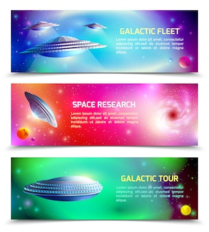 Alien spaceship horizontal banners