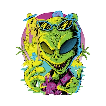 Alien at summer, t-shirt design