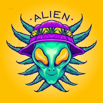 Alien summer weed cannabis mascot vector illustrations for your work logo, mascot merchandise t-shirt, stickers and label designs, poster, greeting cards advertising business company or brands.