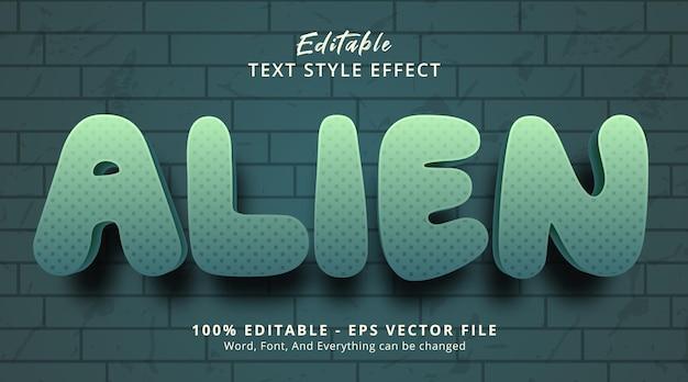 濃い色のグラデーションスタイルの効果、編集可能なテキスト効果のエイリアンテキスト