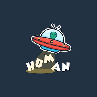 Alien ufo logo concept illustration