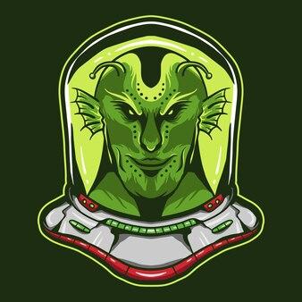 Alien wearing astronaut helmet design