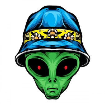 Alien with bucket hat