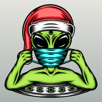 クリスマスの帽子とマスクを持つエイリアン。