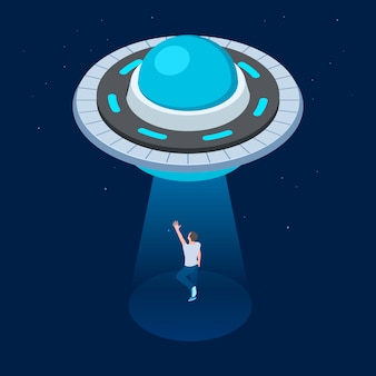 Aliens abduct man. ufo flying spaceship isometric . ufo kidnaps man vector illustration