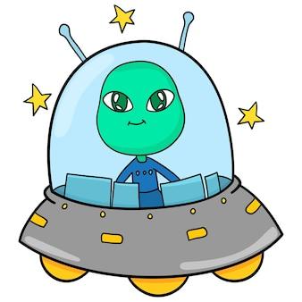 외계인은 ufo 비행기를 사용하여 날고 있습니다. 만화 그림 귀여운 스티커