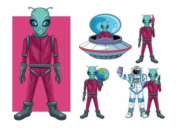 Aliens and astronaut in the space characters  illustration