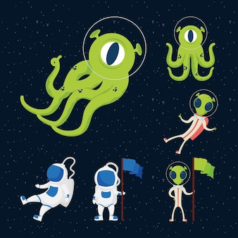 Aliens and astronauts space set icons