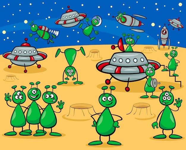 Aliens characters cartoon