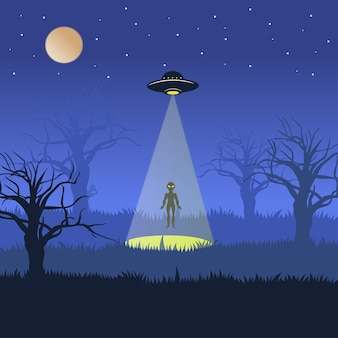 Aliens descend from ufo when the night is quiet