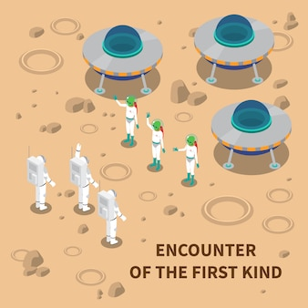 Aliens encounter isometric composition