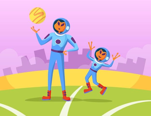 공 일러스트를 가지고 노는 외계인 아버지와 아들 무료 벡터